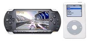 مقایسه ابعاد PSP و iPod