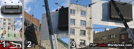 پایین کشیدن ماکت سری اول پی اس پی در خیابانی در نیویورک آمریکا ا�تمالا شرکت سونی ماکت های سری جدید (پی اس پی 3000) را جایگزین آن خواهد کرد