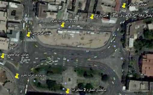 عکس ماهواره ای پاساژ لباف واقع در میدان امام خمینی از گوگل ارت